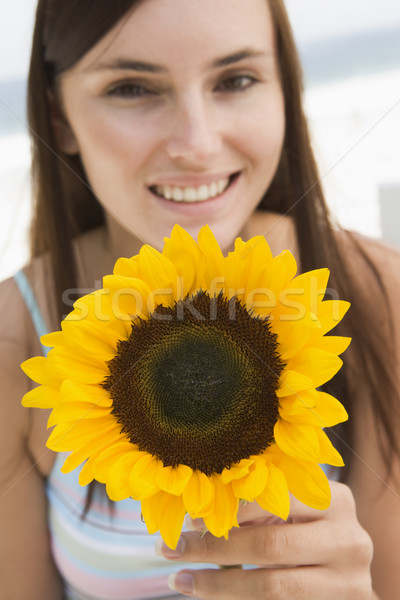 Femme tournesol regarder heureux Photo stock © monkey_business