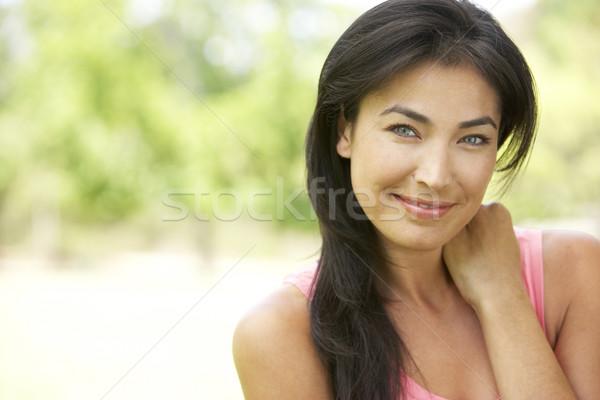 Stockfoto: Portret · jonge · vrouw · park · vrouw · tuin · vrouwelijke