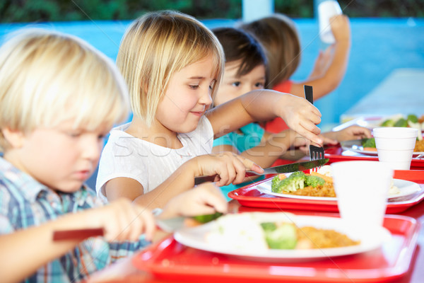 Elementary Pupils Enjoying Healthy Lunch In Cafeteria Stock photo © monkey_business