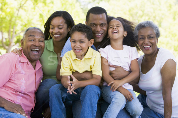 Stock photo: Extended family sitting outdoors smiling