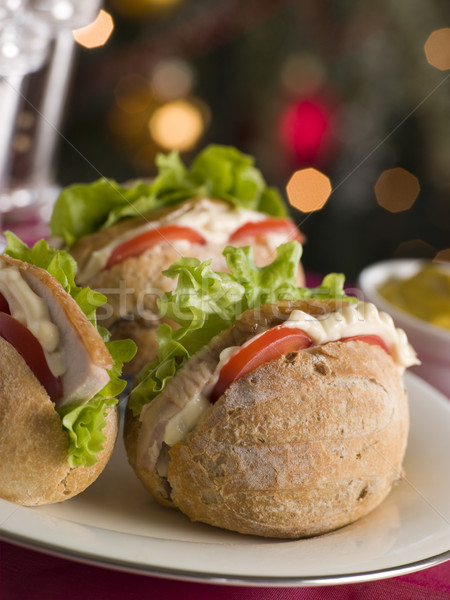 Roast Turkey Rolls with Lettuce Tomato and Mayonnaise Stock photo © monkey_business