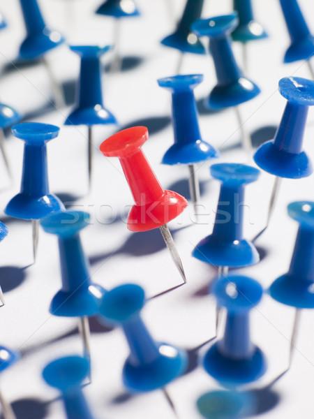 One Red Thumbtack Amid Blue Thumbtacks Stock photo © monkey_business