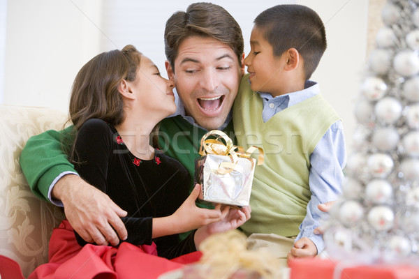 Father Being Given A Christmas Present By His Daughter And Son Stock photo © monkey_business