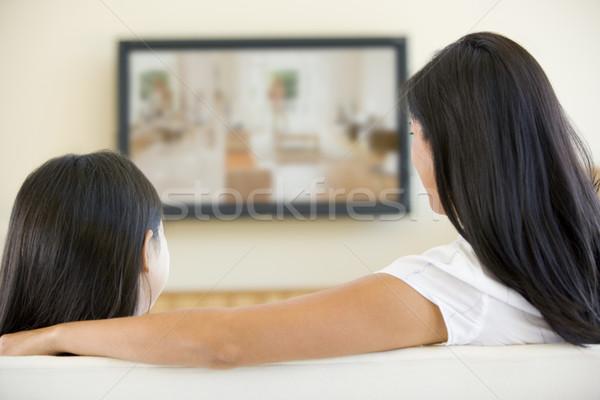 Kadın genç kız oturma odası düz ekran televizyon çocuklar Stok fotoğraf © monkey_business