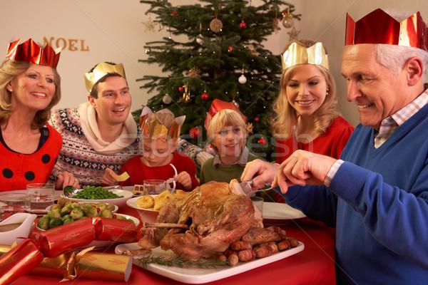 Tre generazione famiglia Natale pasto Foto d'archivio © monkey_business