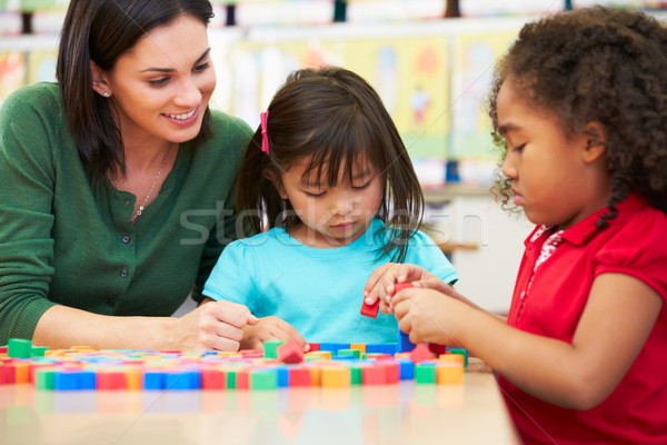 Elementary Pupils Counting With Teacher In Classroom Stock photo © monkey_business