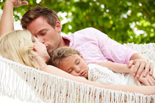 Foto stock: Família · relaxante · praia · maca · adormecido · filha
