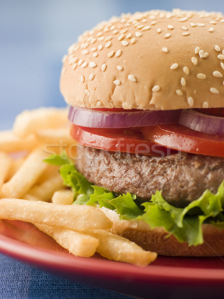 Beef Burger in a Sesame Seed Bun with Fries Stock photo © monkey_business