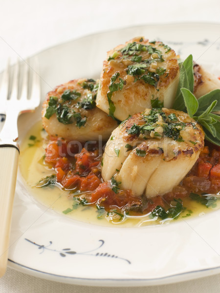 Pan Fried Scallops Piperade and Garlic Butter Stock photo © monkey_business
