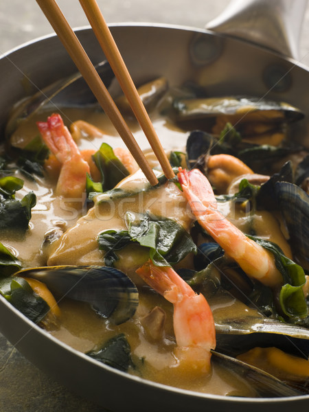 Japanese Seafood and Wakame Seaweed Curry Stock photo © monkey_business