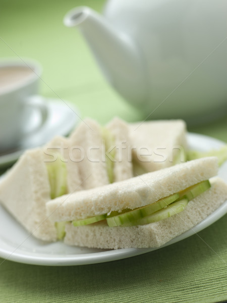 Komkommer sandwich witbrood afternoon tea voedsel brood Stockfoto © monkey_business