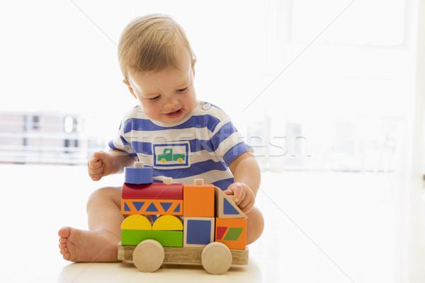 Baba bent játszik teherautó gyerekek gyermek Stock fotó © monkey_business