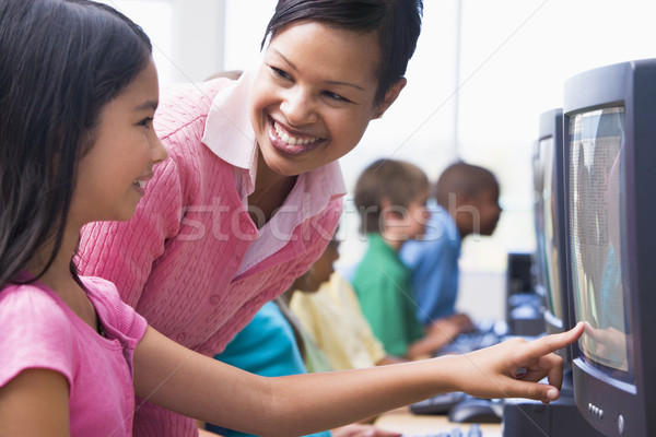 Elementary school computer class Stock photo © monkey_business
