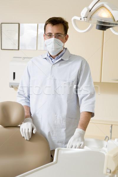 Photo stock: Dentiste · examen · chambre · masque · sourire · travaux