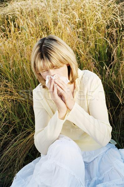 Сток-фото: женщину · сморкании · здоровья · больным · холодно · цвета