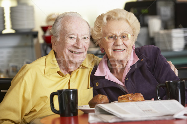 Senior couple having morning tea together Stock photo © monkey_business