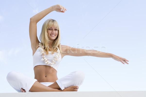 Stok fotoğraf: Kadın · yoga · dışında · kabuk · kolye