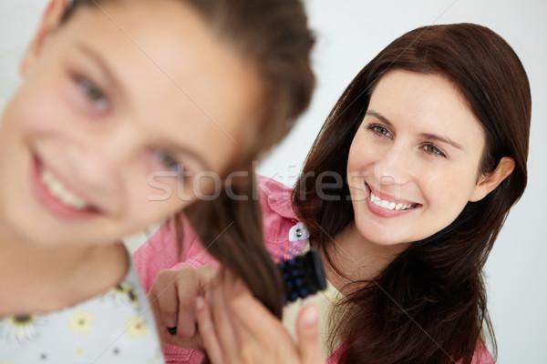 Mamă păr femeie familie zâmbitor stil de viaţă Imagine de stoc © monkey_business