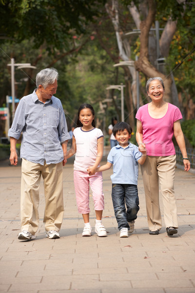 Chinese Grandparents Walking Through Park With Grandchildren Stock photo © monkey_business