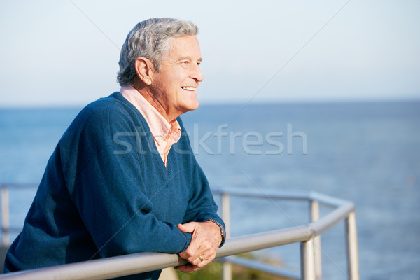 Senior Man Looking Over Railing At Sea Stock photo © monkey_business