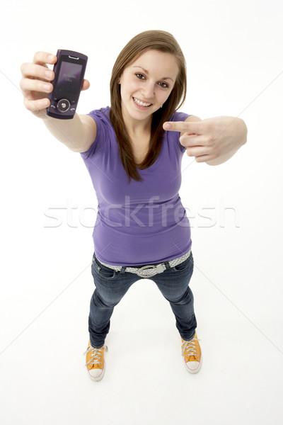 Stock fotó: Tinilány · mobiltelefon · lány · technológia · mobil · kommunikáció