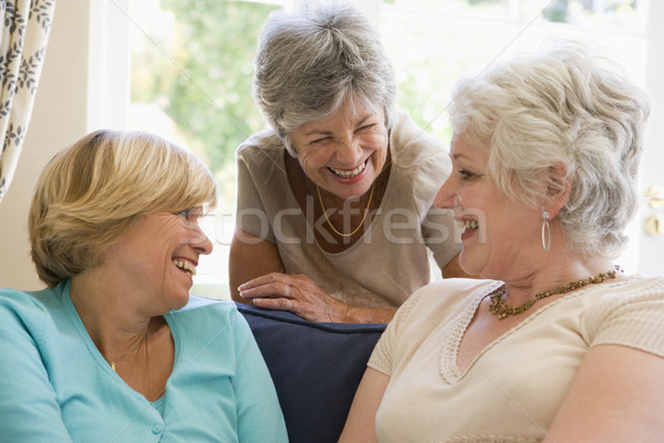 Three women in living room talking and smiling Stock photo © monkey_business