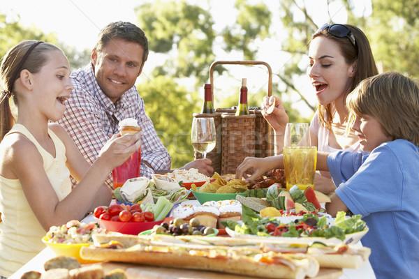 Al Fresco,Eating,Family,Food,Happy,Smiling,Man,Woman,Boy,Girl,Sa Stock photo © monkey_business