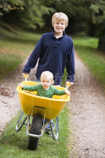 Boy giving toddler ride in wheelbarrow Stock photo © monkey_business