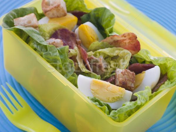 Szalonna tojás saláta ebéd doboz étel Stock fotó © monkey_business