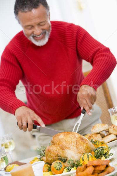 Man Carving Roast Chicken Stock photo © monkey_business