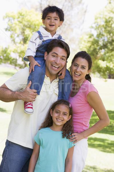 Foto d'archivio: Famiglia · esterna · sorridere · bambini · amore · uomo