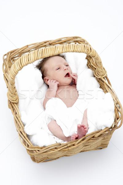 újszülött baba kosár béke stúdió aranyos Stock fotó © monkey_business
