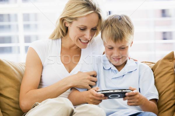 Stock foto: Frau · Wohnzimmer · Videospiel · Kinder · weiblichen
