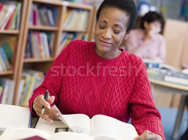 Mature female student studying in library Stock photo © monkey_business