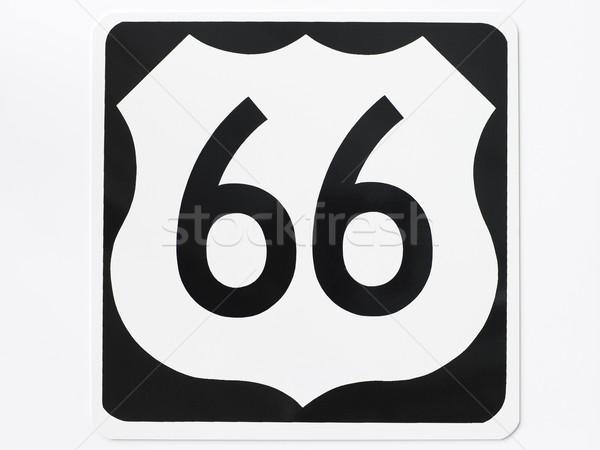Route 66 verkeersbord teken snelweg zwart en wit amerika Stockfoto © monkey_business