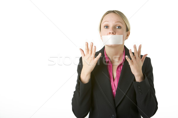 Businesswoman With Her Mouth Taped Shut Stock photo © monkey_business