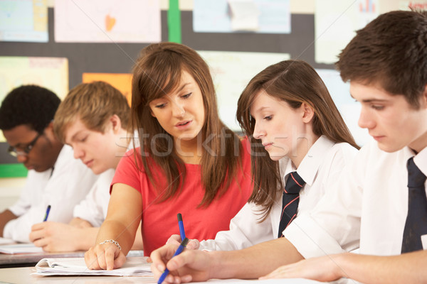 Teenage Students Studying In Classroom With Teacher Stock photo © monkey_business