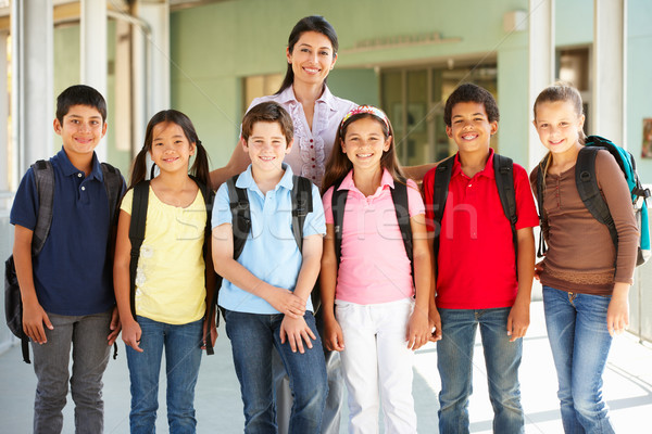 Pre teen schoolchildren with teacher Stock photo © monkey_business