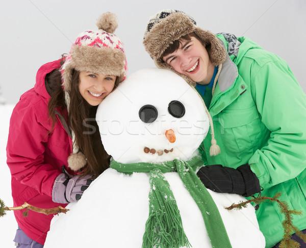 ストックフォト: 2 · 青少年 · 建物 · 雪だるま · スキー · 休日