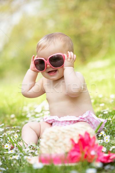 Kislány nyár ruha ül mező visel Stock fotó © monkey_business