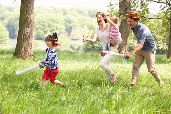 Szülők játszik izgalmas kaland játék gyerekek Stock fotó © monkey_business