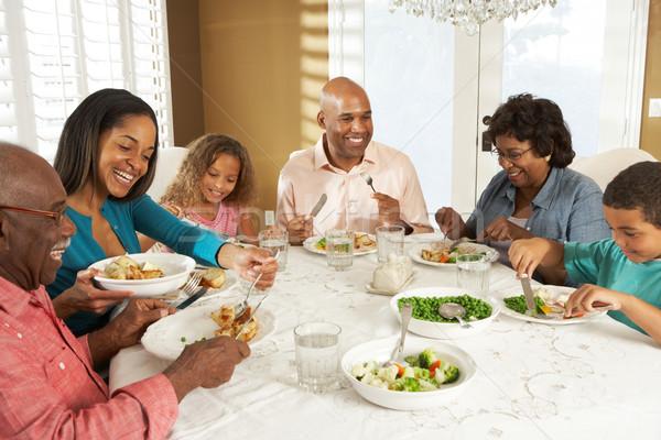 Többgenerációs család élvezi étel otthon család étel Stock fotó © monkey_business