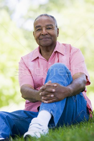 Stock photo: Senior man relaxing in park