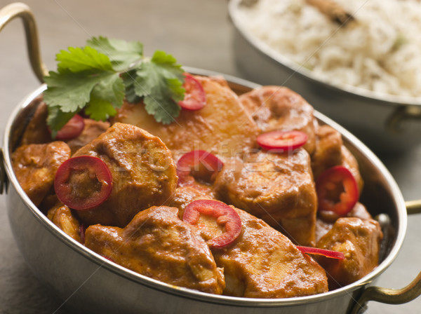 Chicken Chili Tikka Masala with Fragrant Basmati Rice Stock photo © monkey_business