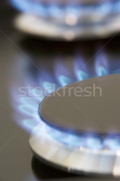 Közelkép földgáz tűzhely technológia gyűrű főzés Stock fotó © monkey_business