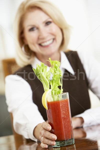 Nő iszik véres otthon ital szín Stock fotó © monkey_business