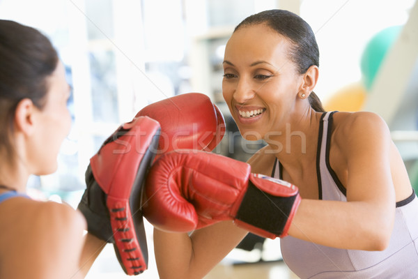 Foto stock: Mujeres · boxeo · junto · gimnasio · fitness · salud
