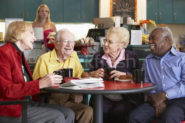 Idős felnőttek reggel tea együtt nők Stock fotó © monkey_business