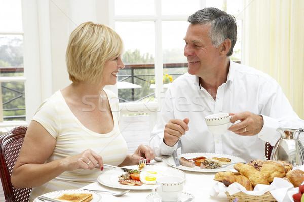 ストックフォト: カップル · ホテル · 朝食 · 男