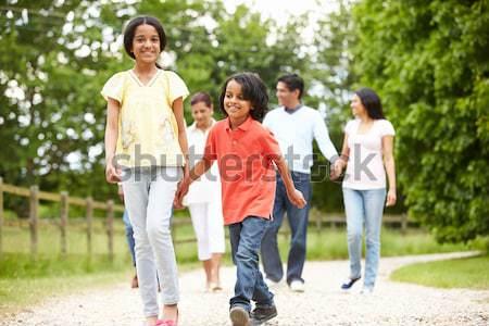 Extended Group Portrait Of Family Enjoying Walk In Park Stock photo © monkey_business
